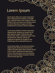 Esoteric geometric pentagram banner and poster or background template. Vector illustration