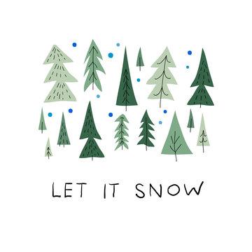 Let snow christmas tree winter season