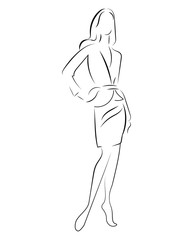 Girl in a dress. Linear outlines of a female figure in a dress. Silhouette of a model in clothes. Linear art of a slender woman. Black and white illustration for the salons of tailoring. Fashion model