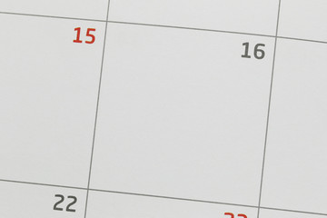 Calendar of 16th and have copy space.