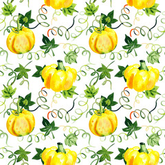 Watercolor seamless pattern with bright pumpkins
