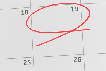 Focus on number 19 in calendar and empty red ellipse.