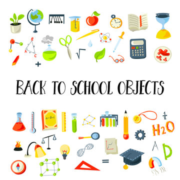 Colored Funny Back to School supplies, elements and objects. Autumn back to school supplies in funny doodle cartooning design. School supplies icon collection. Set of school science objects, doodle
