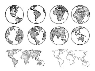 Fototapete - Globe sketch. Hand drawn earth planet with continents and oceans. Doodle world map vector illustration. Planet and world sketch map with ocean and land