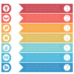 Template infographics from colorful hrizontal arrows for 7 positions