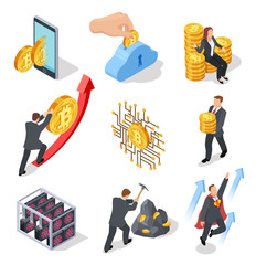 Ico and blockchain isometric icons. Bitcoin mining and cryptocurrency exchange. Vector 3d isolated on white background symbols. Illustration of isometric bitcoin block