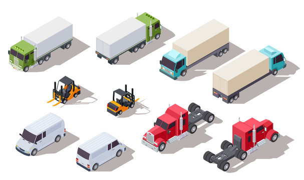 Isometric truck. Transportation trucks with container and van, lorry and loader. Vector 3d vehicles collection. Illustration transport van, isometric cargo forklift