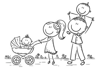 Wall Mural - Happy cartoon family with two children walking outdoors, outline