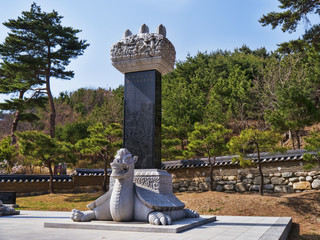 Sculptures in Naksansa temple. Yangyang city, South Korea