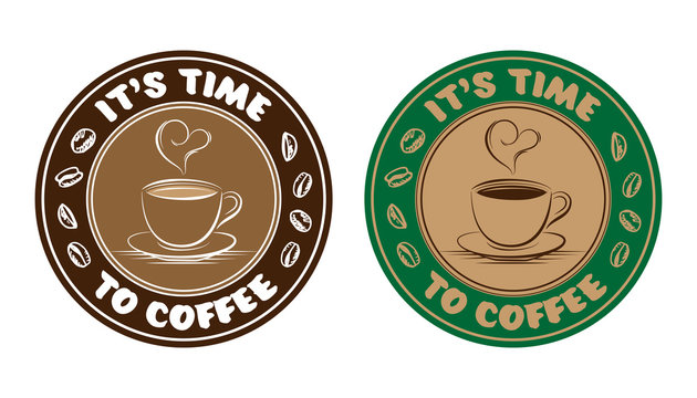 Coffee time drawing cup and bean illustration label sticker vector isolated on white background