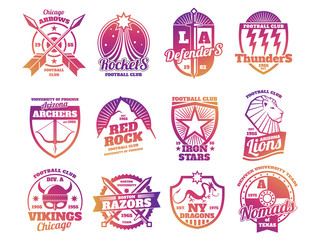 Bright color school emblems, college athletic teams sports labels isolated on white background. Vector illustration