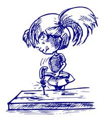 Meisje aan het timmeren - cartoon illustratie van meisje met een hamer
