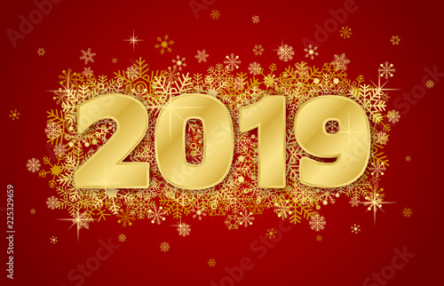 happy new year card 2019 on red background