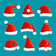 Santa red hats. Christmas funny caps. Santa clothes warm hat. Isolated vector set. Hat fluffy of collection santa claus accessory illustration