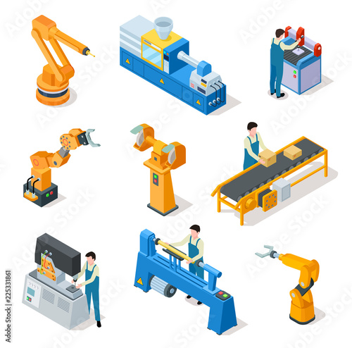 Industrial robots  Isometric machines, assembly line elemets