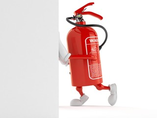 Fire extinguisher character pushing wall