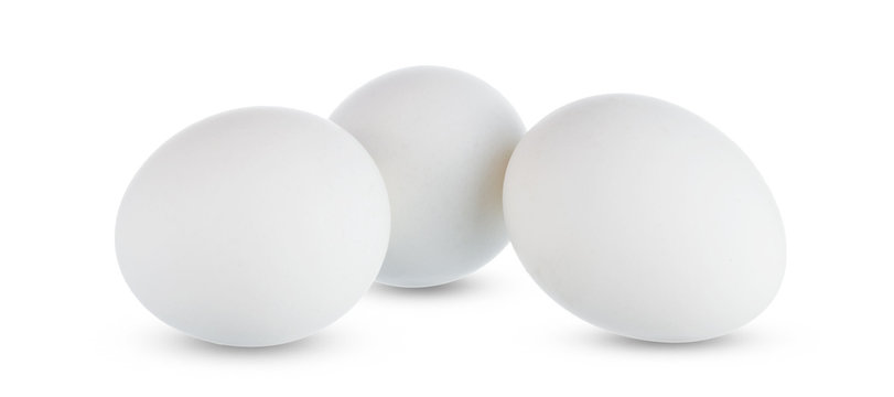 Group of whole white eggs isolated on white background