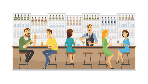 Bartender at work - cartoon people characters illustration