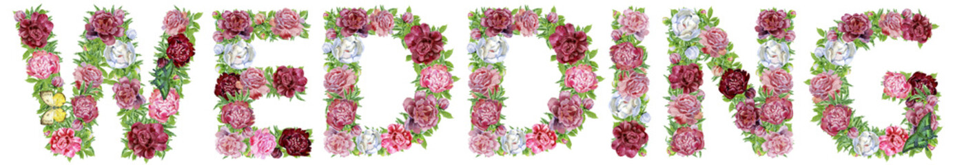 Word wedding of watercolor flowers for decoration