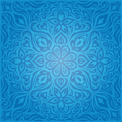 Blue Decorative Flowers,Vintage Wallpaper Background ornate fashion ornate mandala design
