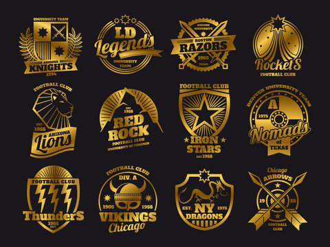 Gold school emblems, college athletic teams sports labels of collection isolated on black background. Vector illustration