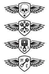 Motorcycle club shields set with skull, piston and wings. Heavy Metal Vintage Biker club