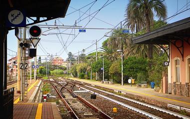 Railway station at Genova-Nervi, picturesque suburb of Genoa, train platform.