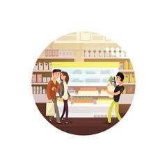 Cartoon style vegan store vector emblem isolated on white background illustration