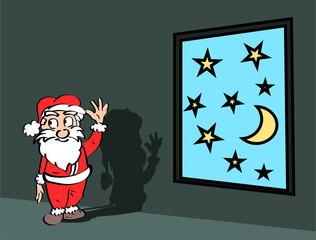 Kerst illustratie - De kerstman in een donkere kamer met een raam met sterren en mana