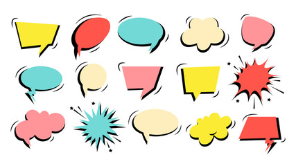 Colorful speech bubble set with black shade