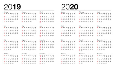 calendar for 2019 and 2020