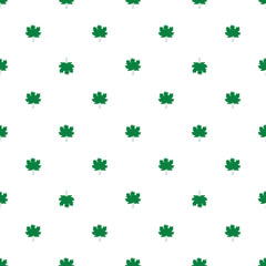 Seamless pattern with autumn maple leaves. Green leaves on white background. Vector illustration