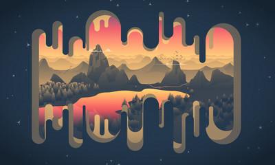 Paysage d'un couché de soleil vectoriel avec des montagnes, un lac, des sapins sur une découpe d'une grotte