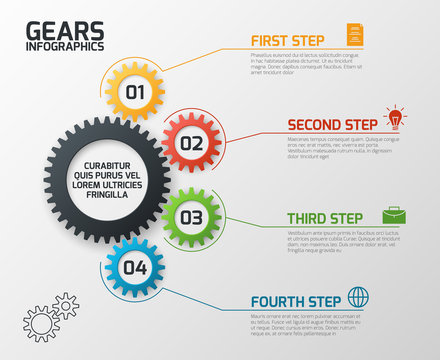 Gears infographics. Cogs gearing process planning, timeline and engineering infochart with options vector presentation template. Chart process, infochart data plan gear illustration