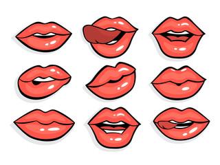Set of sexy red pop art lips.