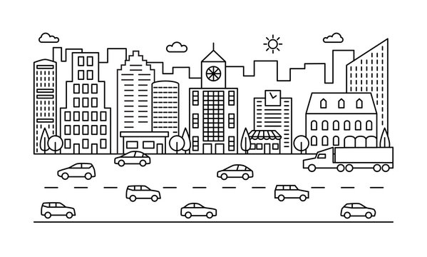 Line city street. Outline urban scene with buildings, road and cars. Modern vector cityscape. City urban street town, landscape outline exterior illustration