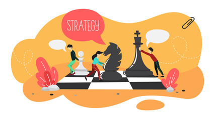 Business plan and strategy. People play chess