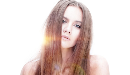 portrait of young modern girl with long hair