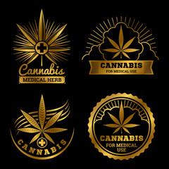 Cannabis banners or labels design. Gold medical logos vector set illustration