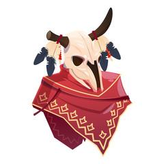 Cartoon character buffalo skull clothing indian poncho. Vector buffalo isolated on white background illustration