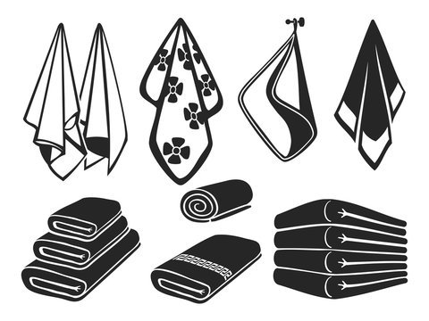 Black towels vector set icons. Bath, beach and kitchen soft fabric towels isolated on white background illustration