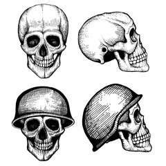 Hand drawn vector death scary human skulls vintage style isolated on white background illustration