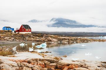 Icebergs on the shore of Atlantic ocean, western Greenland