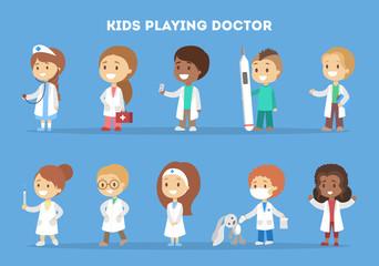 Cute little kid in doctor uniform set.