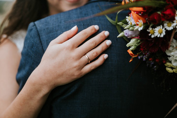 Close up of bride's hand with wedding ring