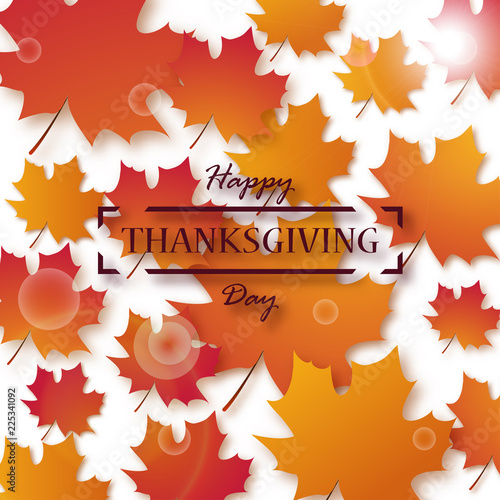 Thanksgiving day happy thanksgiving holiday design with bright thanksgiving day happy thanksgiving holiday design with bright autumn leaves and greeting text m4hsunfo