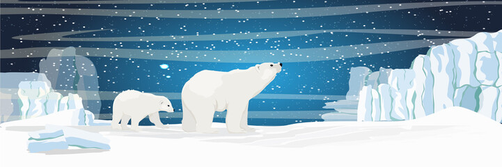 The white bear and her cub bear walks through the snow. Mother and child. The glacier, snow-covered plains. Starry night in the North. Landscapes of the Arctic.