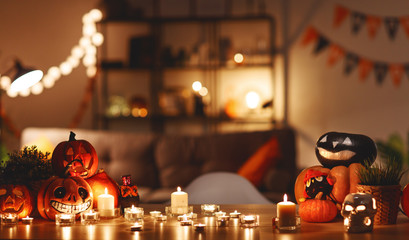 interior of the house decorated with holiday of a halloween