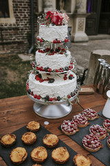 Wedding cake on table outdoors