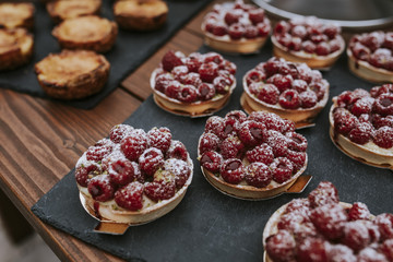rasberry tarts at a wedding